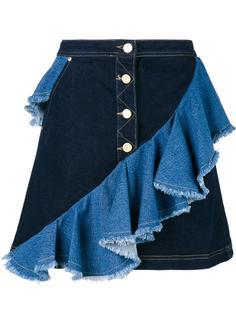 джинсовая юбка с оборками  House Of Holland