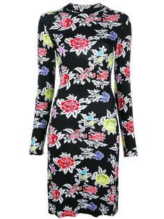 облегающее платье с принтом роз  House Of Holland