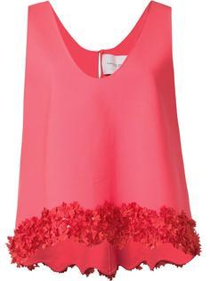 блузка с оборками и цветочной вышивкой Carolina Herrera