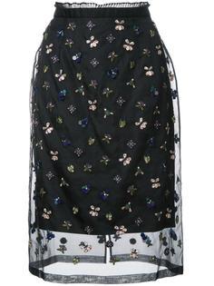 прозрачная юбка с вышивкой Markus Lupfer