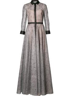 полупрозрачное вечернее платье с воротником Carolina Herrera
