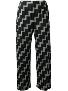 printed pleated cropped trousers  Pleats Please By Issey Miyake