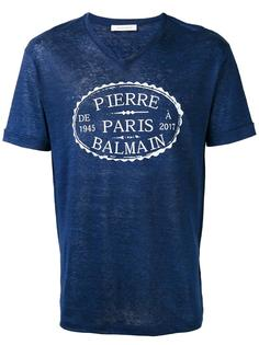 футболка с принтом логотипа и V-образным вырезом Pierre Balmain