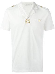 футболка-поло с золотистыми пуговицами Pierre Balmain