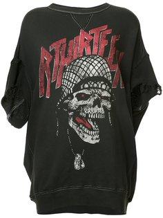 skull print distressed sweatshirt R13
