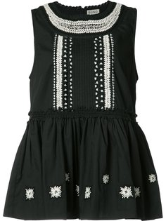 ruffled sleeveless blouse Suno