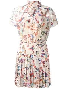 плиссированное платье с принтом птиц Red Valentino