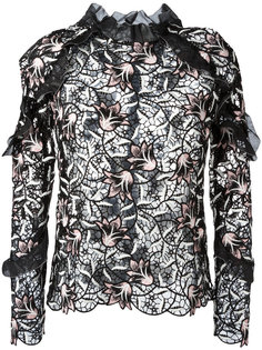 блузка с вышивкой и оборками Self-Portrait