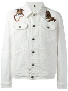 джинсовая куртка с вышивкой Roberto Cavalli