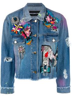 embellished apliques cropped denim jacket Marco Bologna