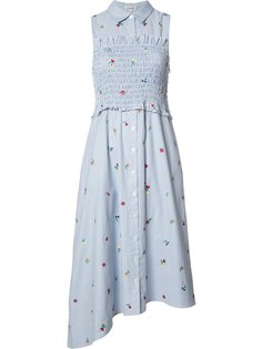floral embroidery striped dress Suno