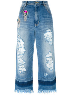 crystal embellished cropped raw jeans Marco Bologna
