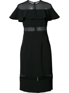sheer panel ruffled dress Nicole Miller