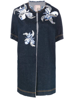 floral motif patches denim jacket  Antonio Marras