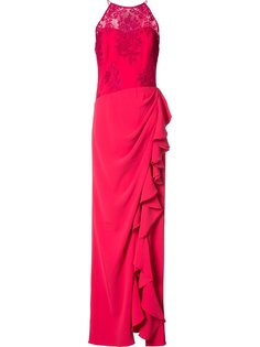ruffled slit dress Badgley Mischka