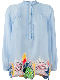 floral motif embroidered patches top Blumarine