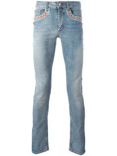 прямые джинсы с вышивкой Roberto Cavalli