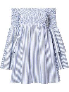 ruffled striped off-shoulders dress Caroline Constas