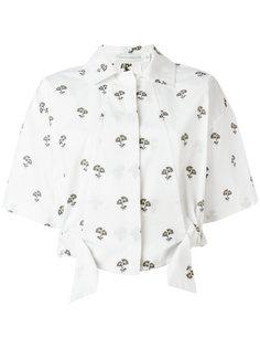 укороченная рубашка с цветочным принтом Victoria Beckham