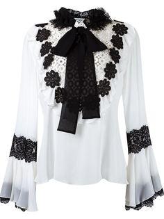 floral lace appliqué blouse Martha Medeiros