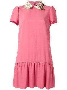 платье с вышивкой птиц на воротнике Red Valentino