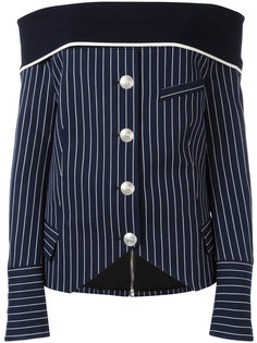 off-shoulder striped shirt Pierre Balmain