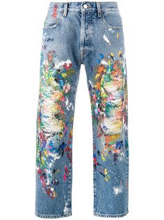 distressed painted jeans  Palm Angels