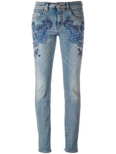 джинсы скинни с вышивкой Roberto Cavalli