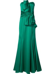ruffled waist strapless gown Badgley Mischka
