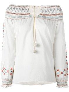 блузка с открытыми плечами и цветочной вышивкой Vilshenko