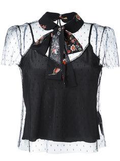 прозрачная блузка с завязками на шее Red Valentino