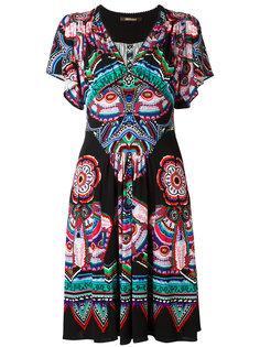 платье с узором и оборками Roberto Cavalli