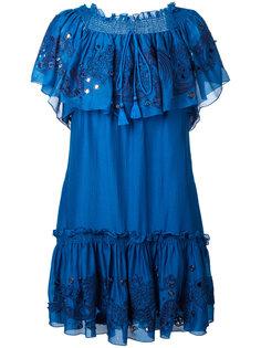 платье с вышивкой и открытыми плечами Roberto Cavalli