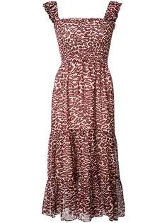 pleated trim leopard print dress Piamita