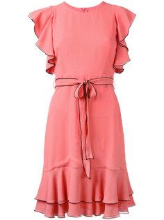 pleated trim lace up dress LAutre Chose