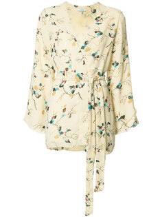 floral print belted jacket Ganni
