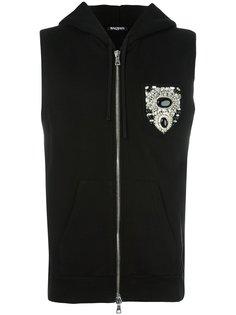 sleeveless chest patch hoodie Balmain