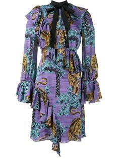 платье с оборками и рисунком из тигров Gucci