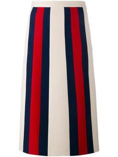 юбка А-образного силуэта в полоску Gucci