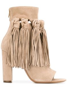 ботинки с открытым носком и бахромой Chloé