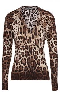Кашемировый пуловер с V-образным вырезом и леопардовым принтом Dolce & Gabbana