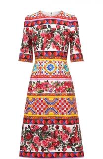Платье миди с ярким принтом и укороченным рукавом Dolce & Gabbana