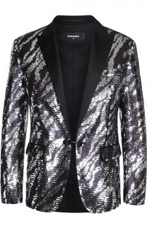Хлопковый пиджак с вышивкой пайетками Dsquared2