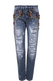 Джинсы прямого кроя с декоративной отделкой и потертостями Dolce & Gabbana