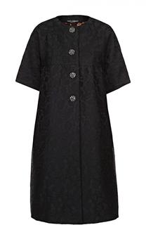 Пальто с фактурной цветочной отделкой и укороченным рукавом Dolce & Gabbana