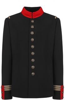 Жакет с контрастным воротником-стойкой и декоративной отделкой Ralph Lauren