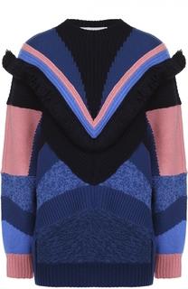Пуловер асимметричного кроя с контрастной отделкой Stella McCartney