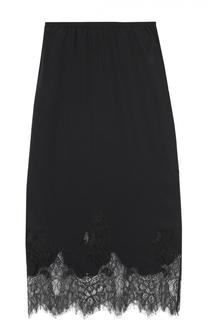 Шелковая юбка-миди с кружевной отделкой MCQ
