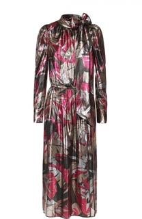 Приталенное платье с металлизированной отделкой и воротником аскот Marc Jacobs