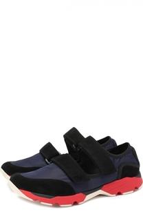 Комбинированные кроссовки с застежкой велькро Marni